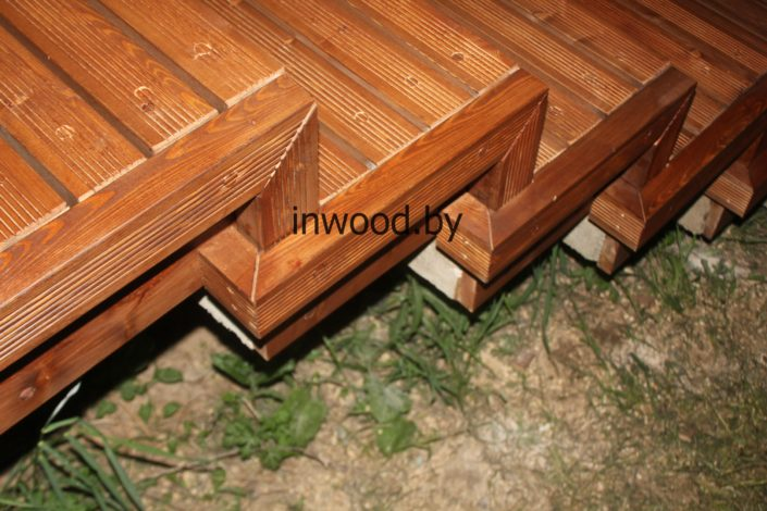 Монтаж террасной доски на ступени фото